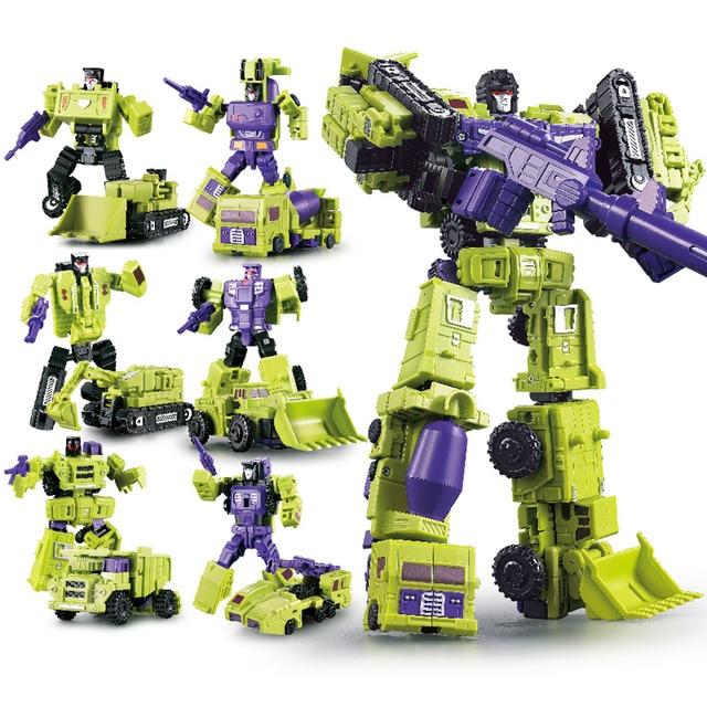 G1 transformação wj devastator 6 em 1 conjunto dx9 liga metal engenharia caminhão modelo ko figura de ação robô deformado carro brinquedos presente