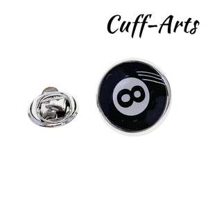 Badges 8-Ball-Lapel pin Fashion Brooches Novelty Black Men for by Cuffarts P10399