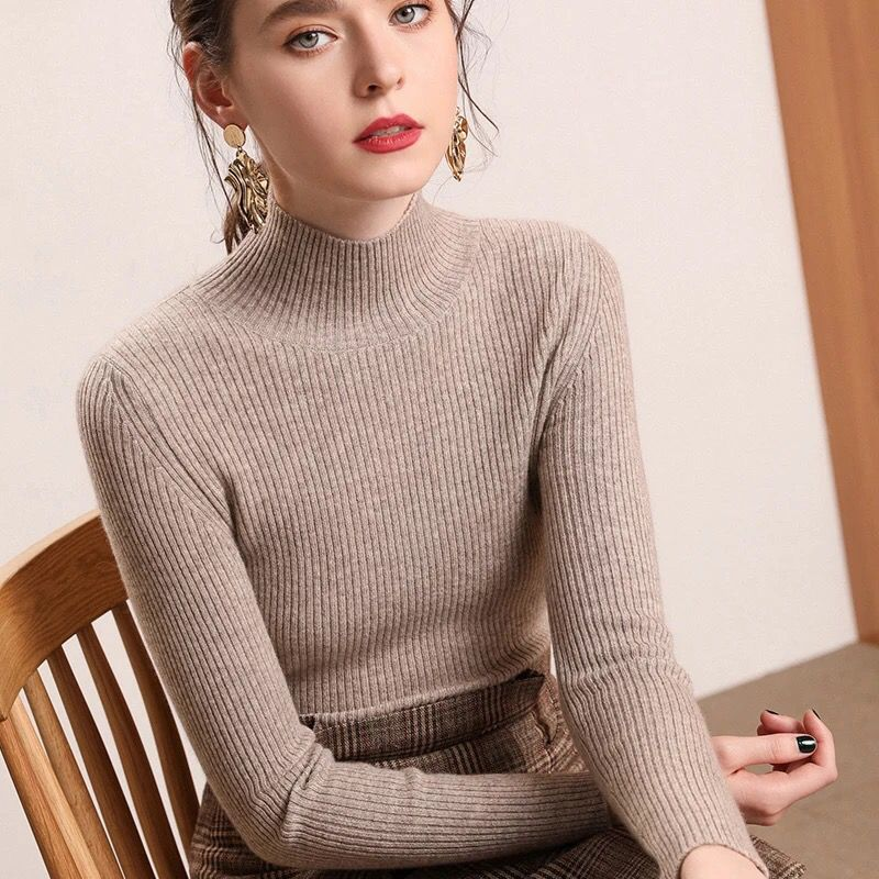 Bonjean Knitted Jumper Autumn Winter Tops Turtleneck Pullovers Casual Sweaters Women Shirt Long Sleeve Short Slim Sweater Girls