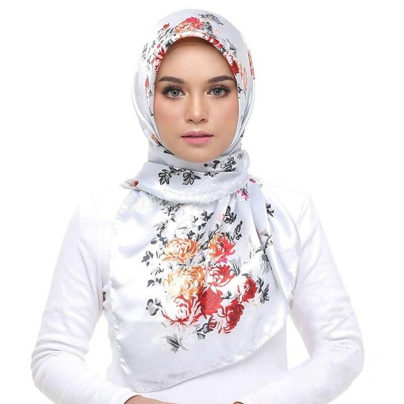 90*90cm Print Malaysia Hijab Scarf Female Silk Headscarf Square Scarfs For Ladies Muslim Scarves Foulard Femme Musulman