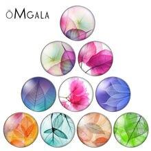 As folhas transparentes coloridas 10 pces 12mm/18mm/20mm/25mm redondas do vidro da foto cabochon demo parte traseira lisa que faz descobertas