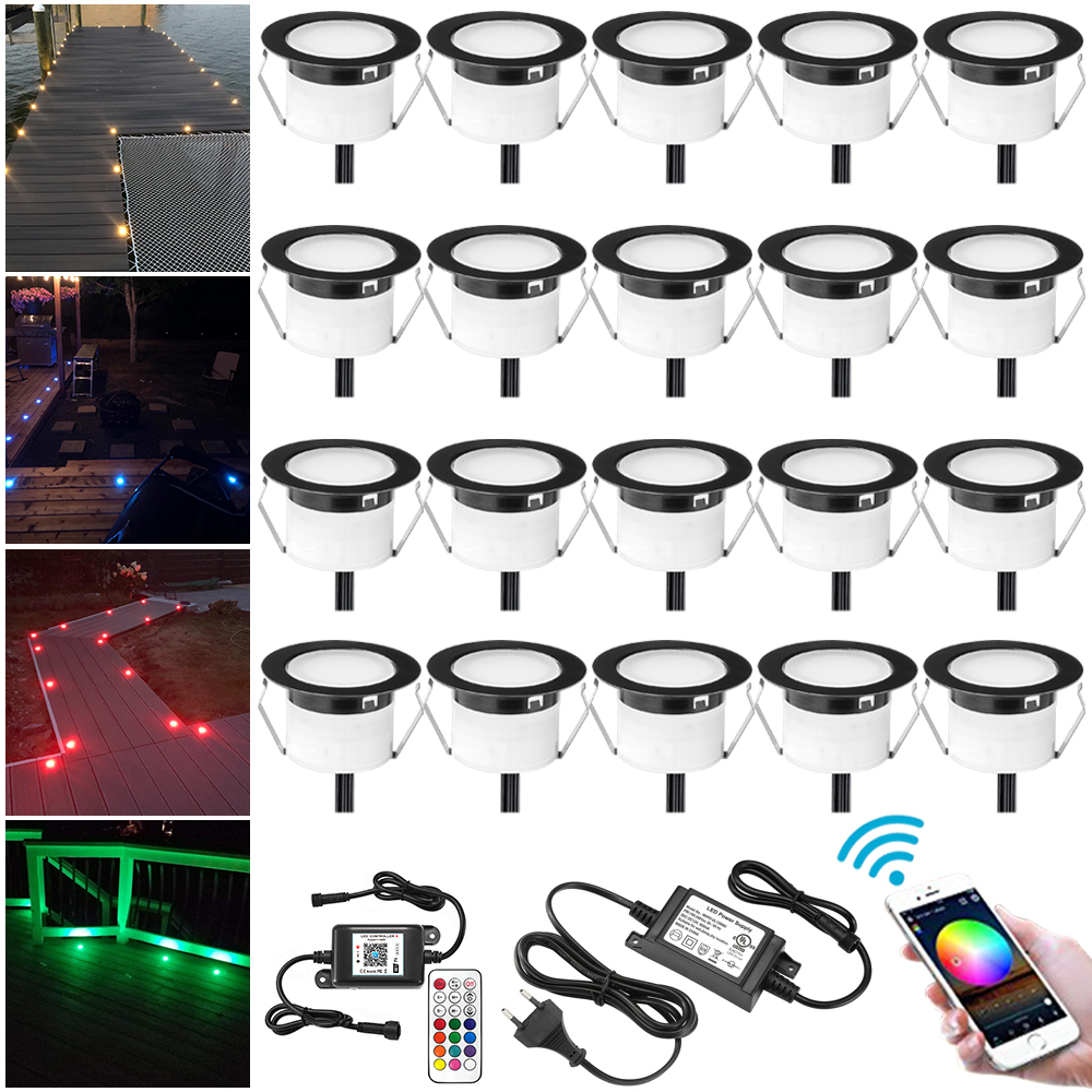 20pcs/lot Black WIFI App RF Remote Controller Timer 45mm 12V 5pin RGBW Yard Terrace LED Deck Stair Soffit Step Lights Waterprrof