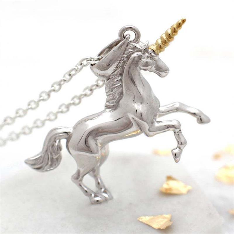 Модный милый Единорог Форма простой ожерелья с подвесками на свадьбу, годовщину женщине, на официальное мероприятие, на ожерелье вечерние а...