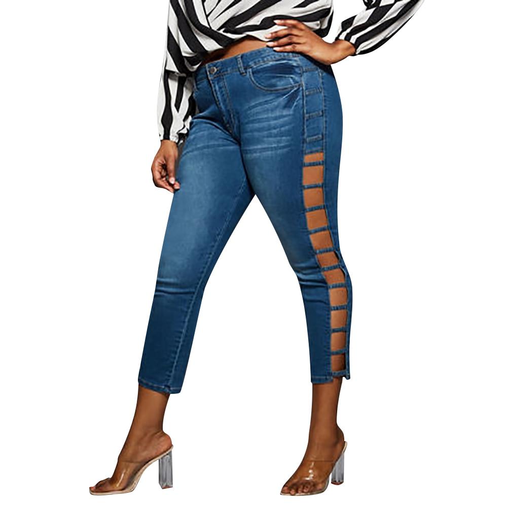 5XL Plus Size Jeans Summer Hollow Out Women Jeans Casual Skinny Jeans Woman Streetwear Pocket Denim Pants Jeansy Damskie D30
