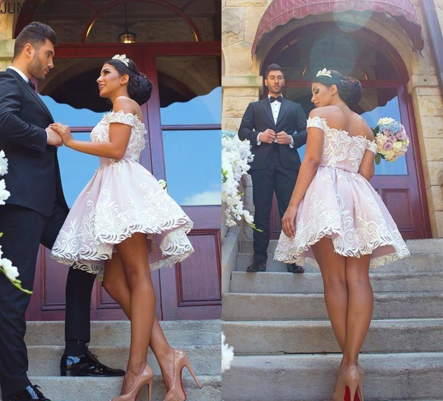 White Short Homecoming   Dresses   Lace Appliqued Light Pink Off the Shoulder Mini   Cocktail     Dress   Prom Party Gowns