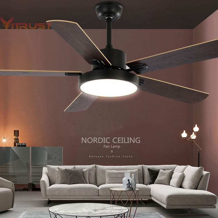 Modern wooden <font><b>pendant</b></font> fan with <font><b>light</b></font> kits Nordic ceiling fan lamp restaurant living room fan lamp Office <font><b>Bar</b></font> Fan 42 52 inch image