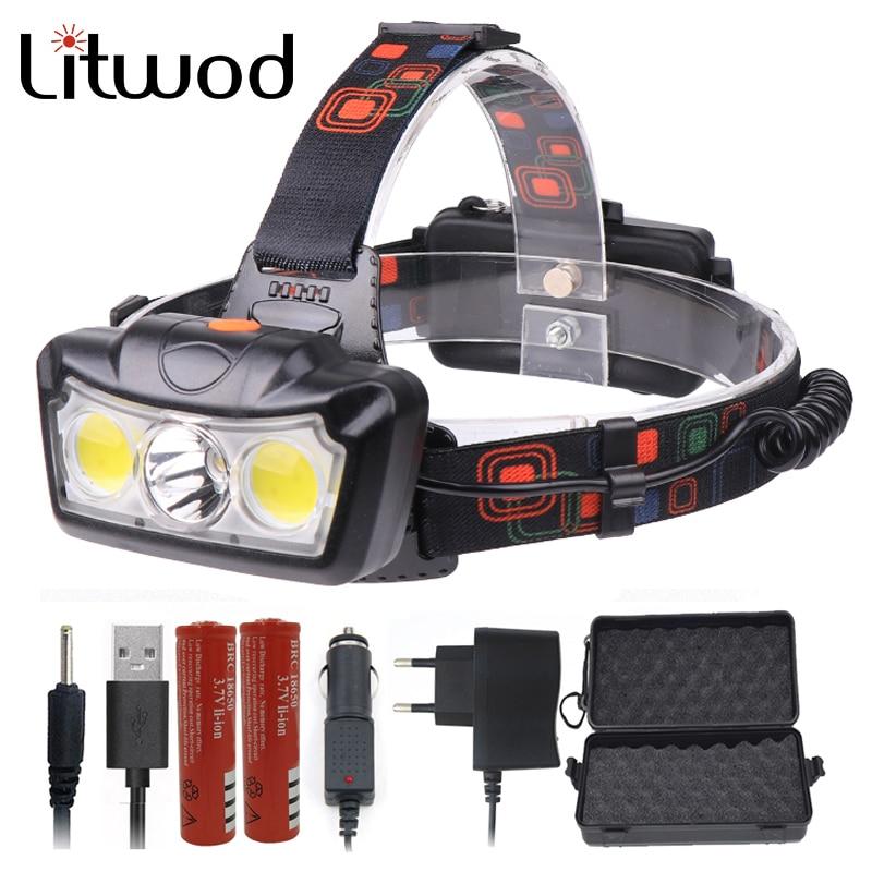 Litwod Z30 Led Headlight Headlight XM-L T6 COB Super Bright LED Head Flashlight Lamp 18650 Rechargeable Battery Torch Light