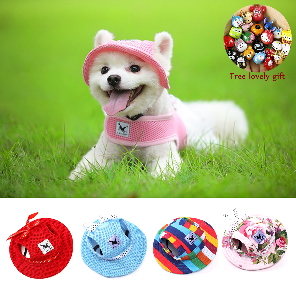 Dog Cat Hat With Ear Holes Outdoor Summer Canvas Mesh Breathable Puppy Cap Sunbonnet Beach Visor Hat For Small Dogs Pet Products