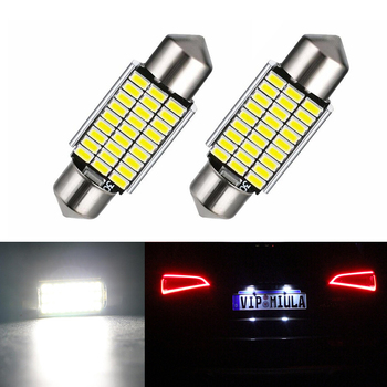 2x Car Styling Canbus LED License Plate Lights 36MM C5W For Mercedes Benz W208 W209 W203 W169 W210 W211 W212 AMG CLK image