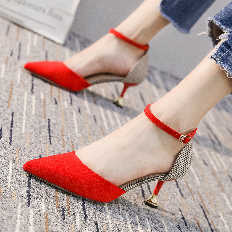 Women Cute Pointed Toe Black Buckle Strap High Heel Shoes Lady Casual Red Comfort Summer Stiletto Heels For Office & Party G6006