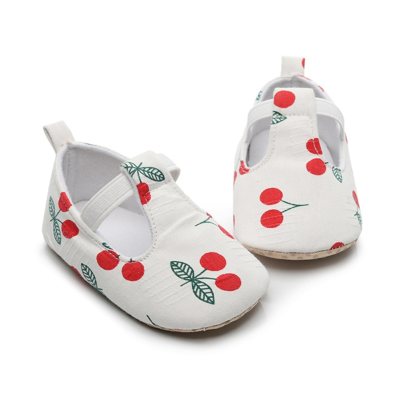 Toddler Soft Soled First Walkers Baby Girl Shoes Autumn Cherry Print Anti-Slip Todler Shoes Casual Sneakers