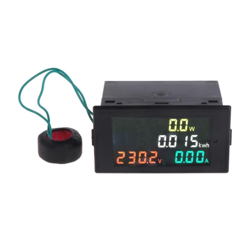 Medidor de Energia de Energia Kwh de Energia Voltímetro Amperímetro hd Tela Colorida Led Volt Amp Metro ac 80-300v 0-100a