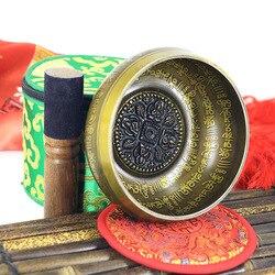 Nova crença cantando tigela conjunto mindfulness mantra yoga com mallet presente ornamento casa chakra tibetano cura meditação