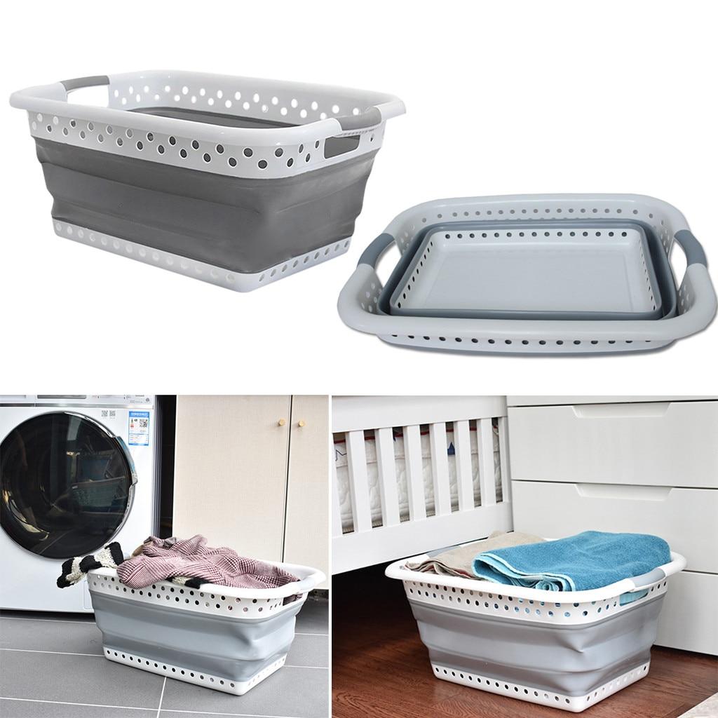 Clothes storage basket TPR storage basket Organizer Large Collapsible  Laundry Basket Folding Cloth Washing Bin Space Saving w729|Storage Baskets|  - AliExpress