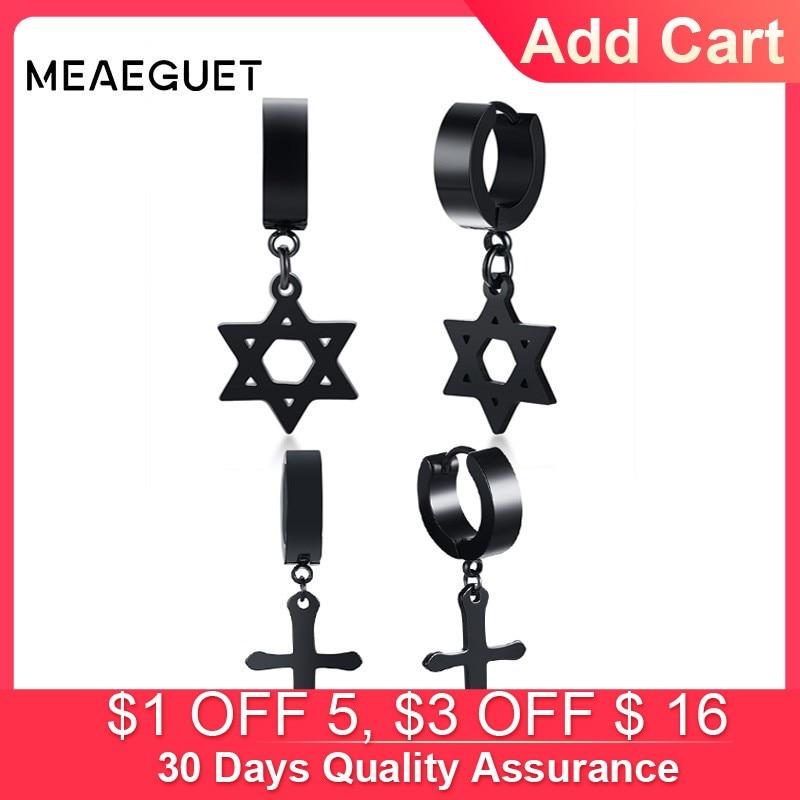 Black Stainless Steel Cross drop dangle Earrings screw stud barbell punk gothic