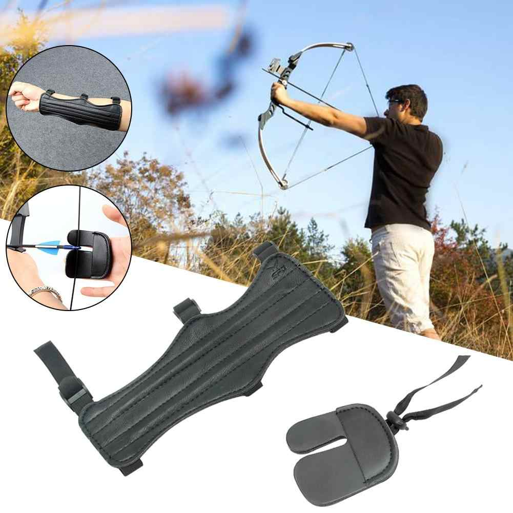1PCS Hunting Leather Arm Guard Long 4 Straps Forearm Protective Gear Arrow Bow