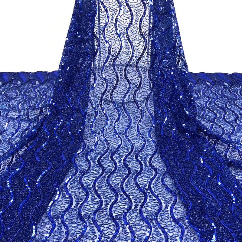Latest African Lace Fabric 2020 Wave Embroidered With Sequins Best Quality Tulle French Lace Fabric For Women Evening Dress