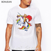 rainbow Cat riding unicorn animal print t-shirt men clothes 2019 funny t shirts camisetas hombre high quality white tshirt
