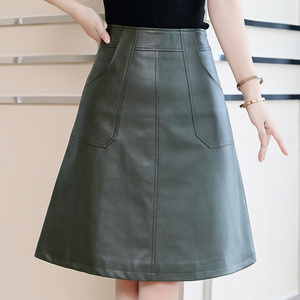 Image 2 - 2020 printemps femmes Midi jupe mode noir vert grande taille 4XL tenue de bureau taille haute a ligne Faux cuir jupe hiver