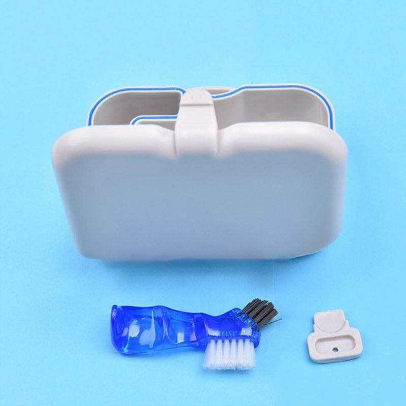 Купить с кэшбэком False Teeth Bath Box Denture Container Case with Mirror Brush Organizer