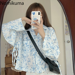 Nomikuma New Arrival Long Sleeve Lace Up Floral Printed Shirts Women Single Breasted Casual Blouse Sun Protection Blusas 3c266
