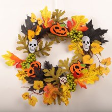 Вечерние венки на Хэллоуин, реквизит для сцены, кленовый лист, тыква, ягода, фонарь, гирлянды, украшение на Хэллоуин для двери, стены, бара, дома