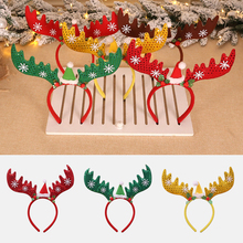 Christmas Ornaments Sequin Head Buckle Snowflakes Big Antlers Headwear Gifts Hair Accessories Band Festival Style