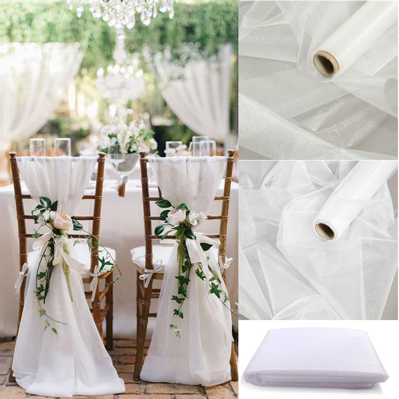 5/10M Sheer Crystal Wedding Tulle Roll Organza Fabric For Ceremony Party Rustic Wedding Decor DIY Wedding Organza Chair Sashes
