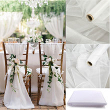 Sashes Chair Organza-Fabric Crystal Wedding-Decor DIY Rustic Party Ceremony for Sheer