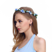 Artificial Flowers Wreaths for Wedding Party Holiday Girl Crown Floral Rose Flower Headband Headband Wedding Hair Garland Floral hippie love flower garland crown valentine wedding hair wreath boho floral headband artificial flower headwear crown