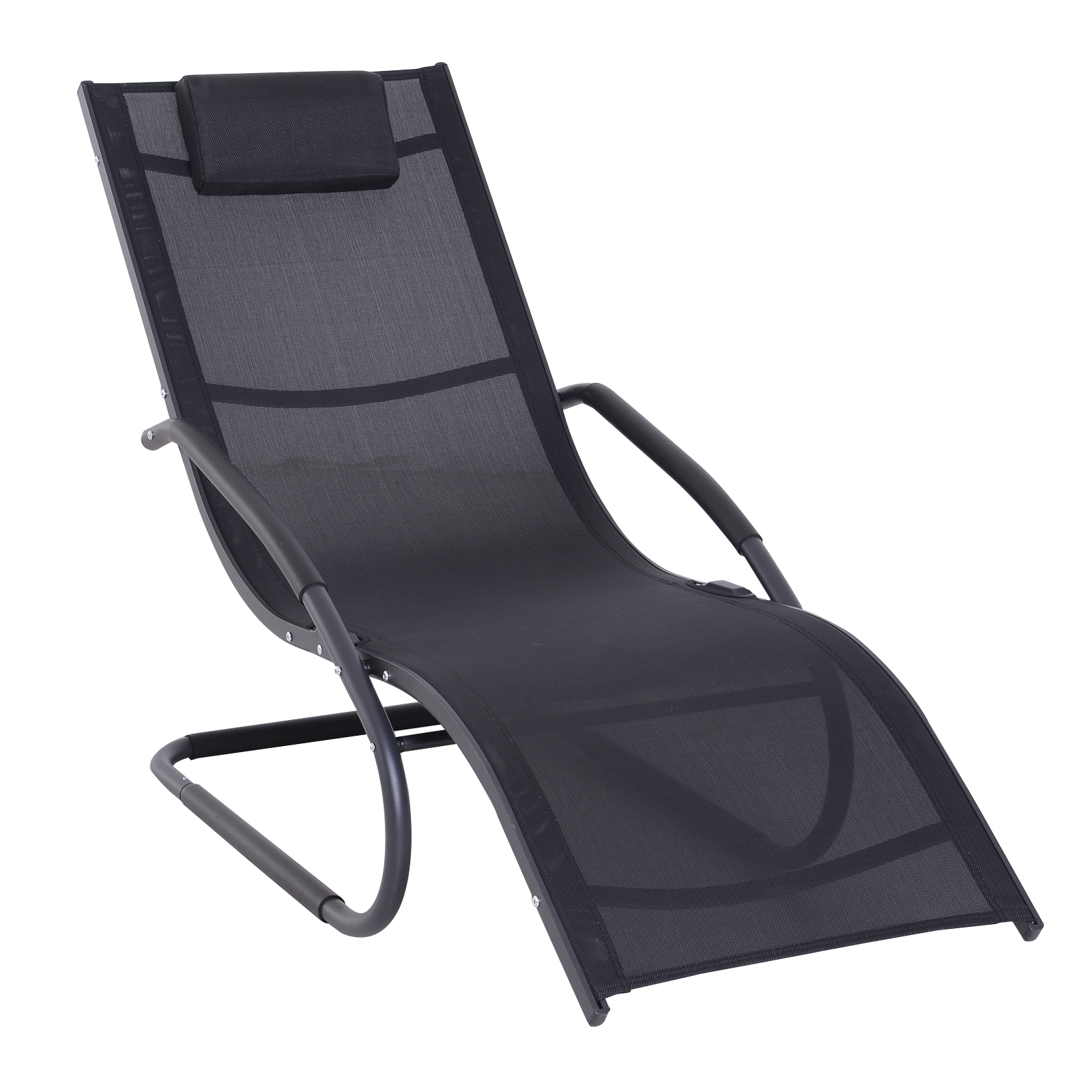 Outsunny Chair Lounger Garden Design Ergonomic Headrest Removable Fabric Outdoor Aluminum Frame, Textilene