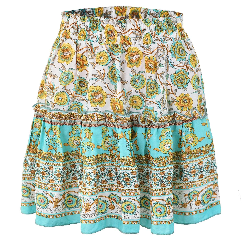 Women Bohemian Beach Style Skirt Ladies A-Line Above Knee Mini Empire Ruffles Vintage Floral Print Skirts