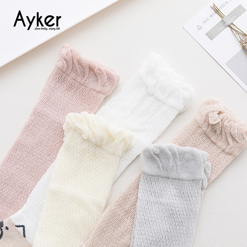 5 Pairs Baby Socks Newborn Toddler High Knee Long Socks Girl Leg Warmer Cotton Summer Princess Dress Candy Color Kids Socks in Socks from Mother Kids