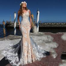 Женское свадебное платье с юбкой годе v образным вырезом