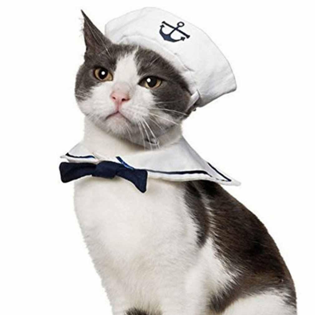 Novo gato do cão de estimação roupa de marinheiro gravata chapéu ternos da marinha traje vestir-se para a festa do animal de estimação