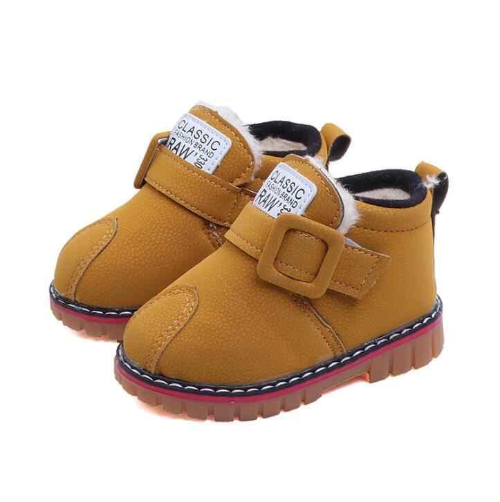 Bebek Kar Botları Erkek Kız Çocuklar Kar Botları Yumuşak Kürk Ayakkabı Sevimli Çocuk Deri Avustralya Çizme