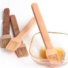 Натуральная деревянная силиконовая щетка с деревянной ручкой, щетка для барбекю, высокотемпературная щетка для приготовления пищи, выпечки, барбекю, инструменты для барбекю