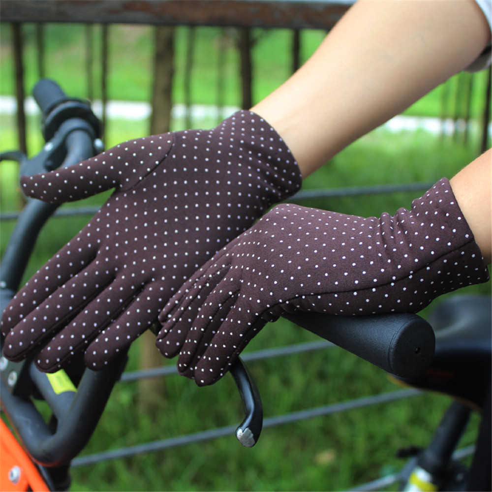 Hcc2e25de2bb948c7b15ba7f4ea494cf8l - 1 Pair Gloves Women Touch Screen Thin Warm Gloves Bicycle Elastic Wrist Mittens Polka Dots Luvas Guantes Handschoenen