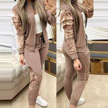 2021Two Piece Outfits for Women Fashion Sequins Zipper Coat Tops Drawstring Pants Set