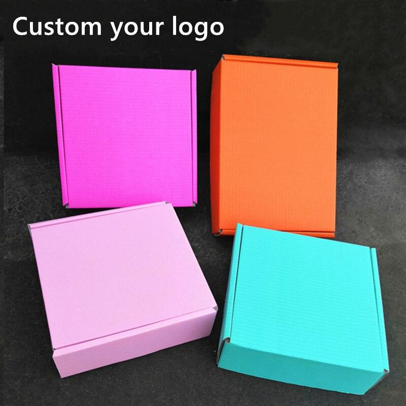 100 шт., Пользовательский логотип гофрированный Бумага коробка парики Упаковка Подарочные коробочки самолета картонная подарочная коробка