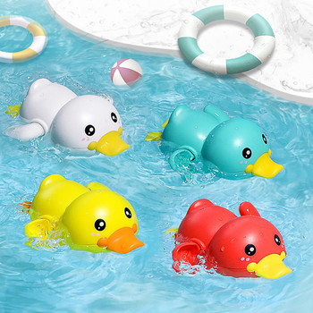 Summer2020 Bathroom Bath Shower Baby Clockwork Swimming Children Play Water Cute Little Yellow Duck Bathing Bathtub Toys For Kid image