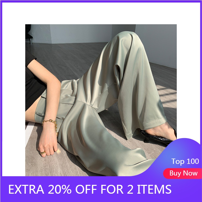 CMAZ 2020 Spring Summer Women Loose Pants Straight  Full Length Casual Trousers Women CMAZ1004
