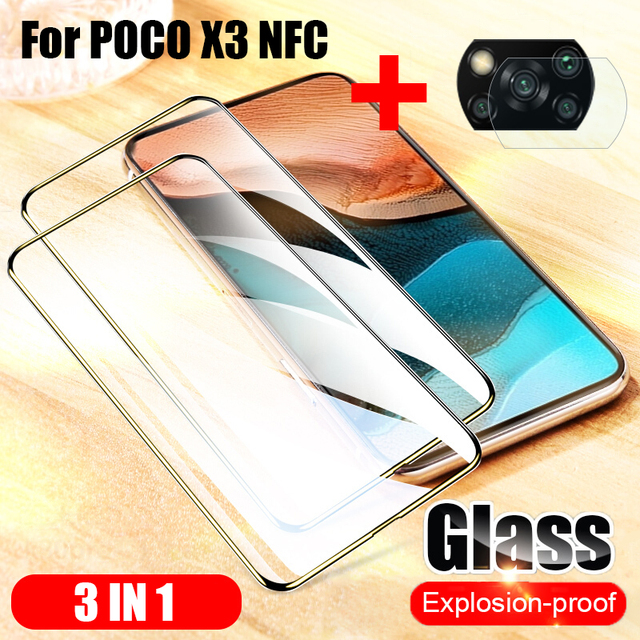 3-in-1 Film Tempered Glass For Xiaomi POCO X3 NFC F2 Pro Cover Screen Protector Anti blue ray For Xiaomi POCO X3 NFC Glass Lens