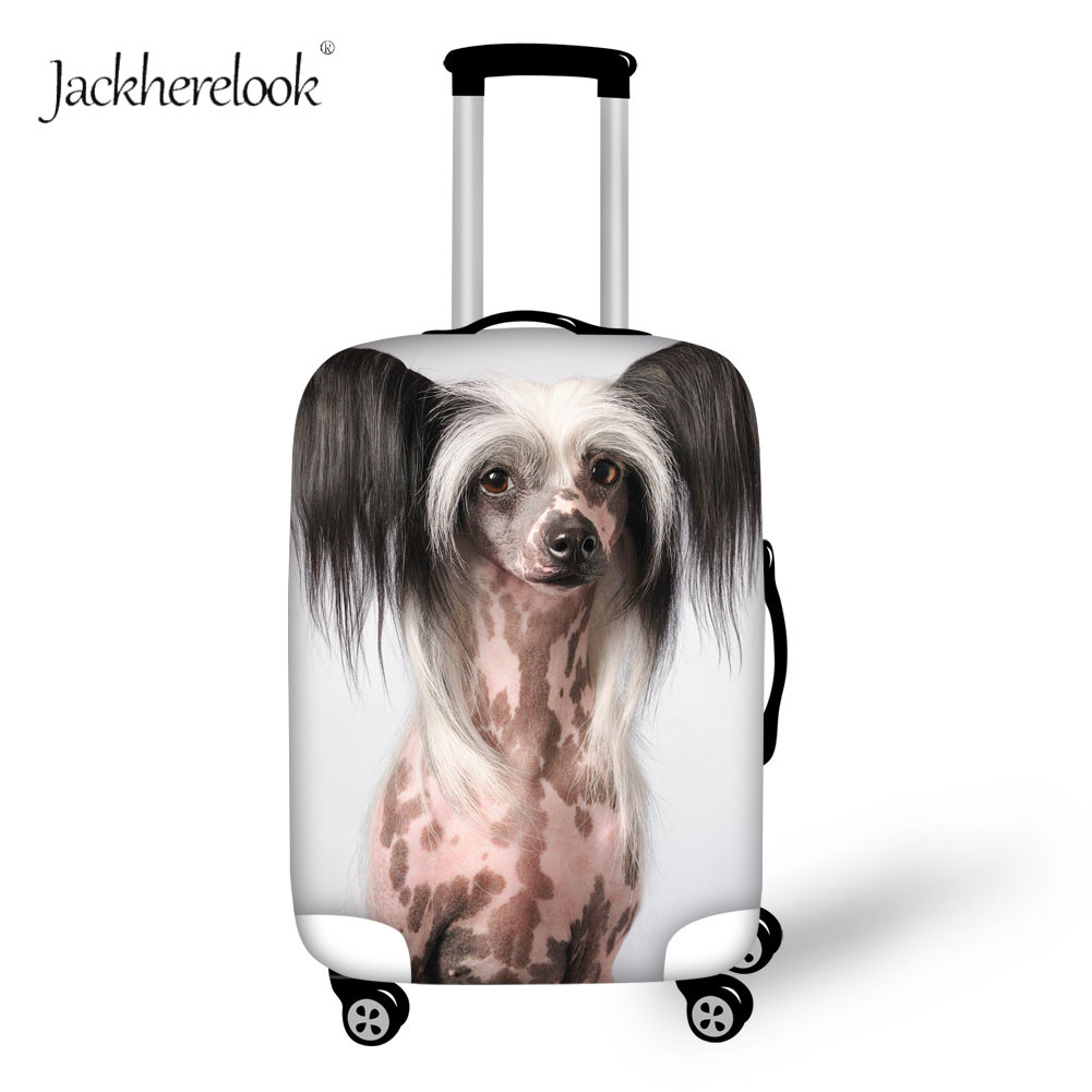 Jackherelook Travel Suitcase Cover Elastic Chinese Crested Dog Luggage Bag Cover Cute Pet Animal Baggage Bags Dust Proof Sheet