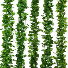 230cm Vivid Artificial Plants Creeper Grape Green Leaf Ivy Vine Garland For Home Garden Party Wedding Wall Decor Rattan String