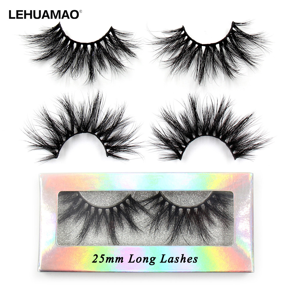 LEHUAMAO 5D False Eyelashes 25mm Mink Lashes  Luxury Mink Fluffy Eyelash Dramstic Natural Long Lashes Holographic Color Box G01