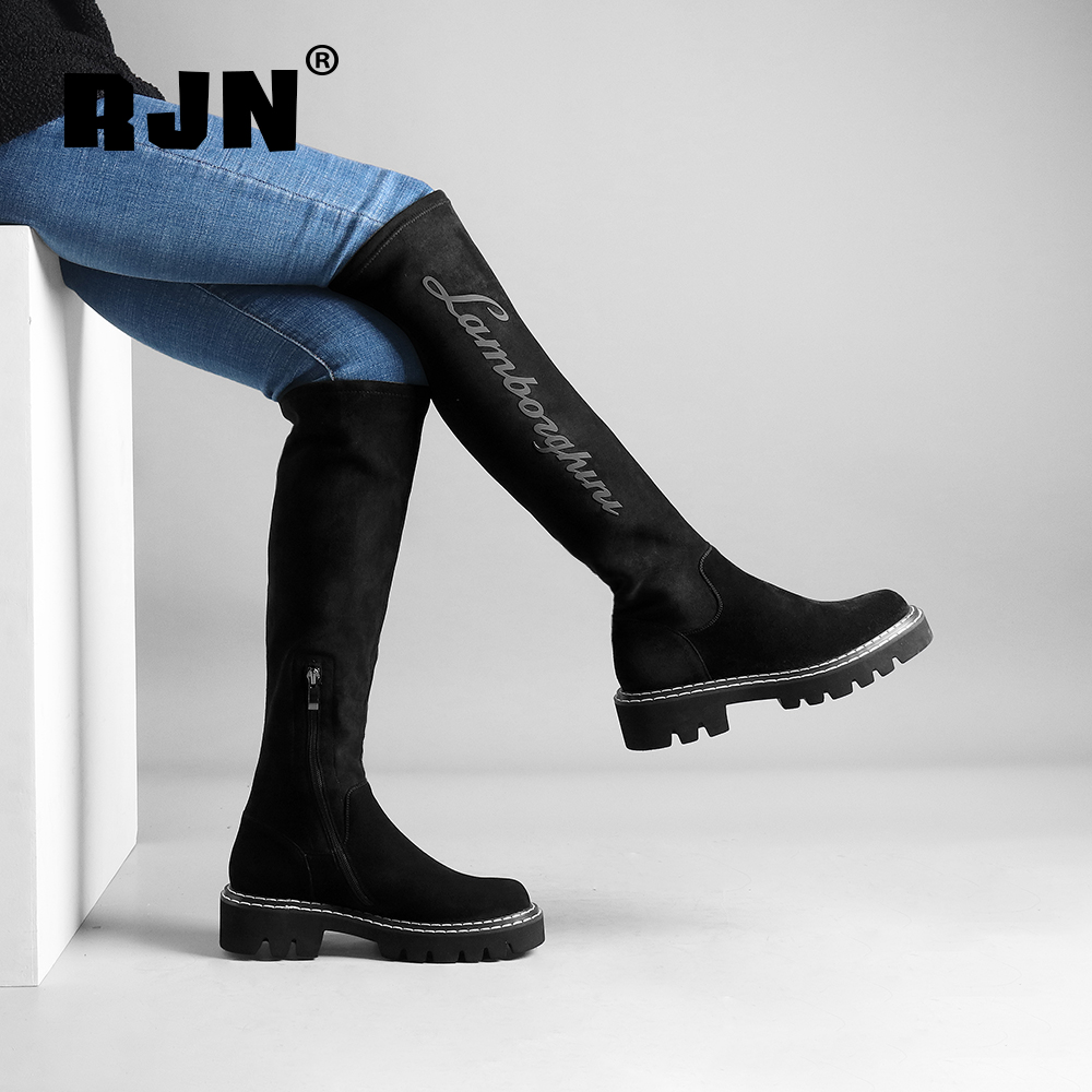 New RJN Classic Black Knee High Boots Applique Sewing Decoration Comfortable Round Toe Med Heel Shoes Women Long Boot For Winter R30