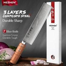 HEZHEN 7 pouces couteau à tranches professionnel 3 couches Composite en acier inoxydable couteaux de cuisine coupe viande couteau de cuisine