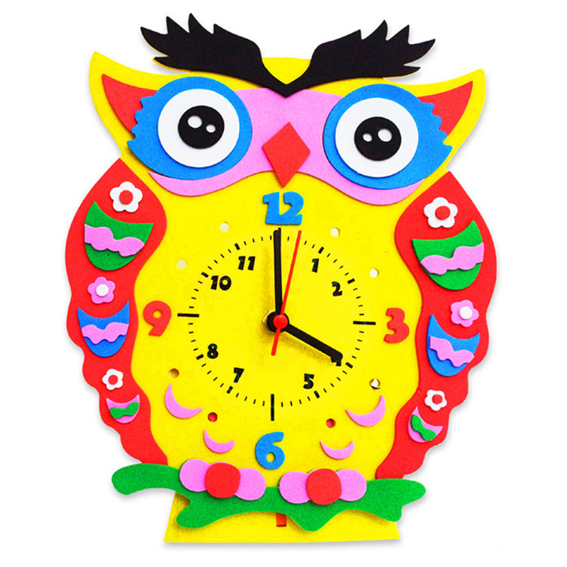 Arts Crafts Diy Toys Cartoon EVA Clock Crafts Kids Puzzles Educational For Children's Toys Fun Party Diy Girl/boy Christmas Gift