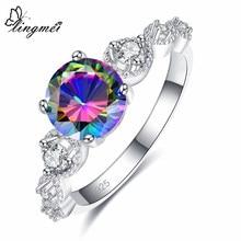 Lingmei simples e elegante trendyjewelry redondo moda feminina multi zircão prata colorring tamanho 6 7 8 9 lindo presente de natal